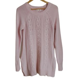 3/30$ Winter Soft Pink Cable Knit Angora Long Knitted Sweater Size Large